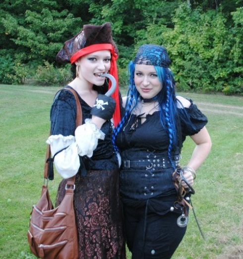 Jasmine (left) and me as funky pirates for a family banquet à la Astérix (French comic).